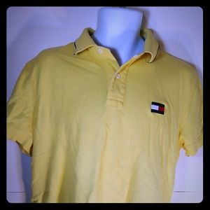 Tommy Hilfiger Polo Shirt Men Large Yellow